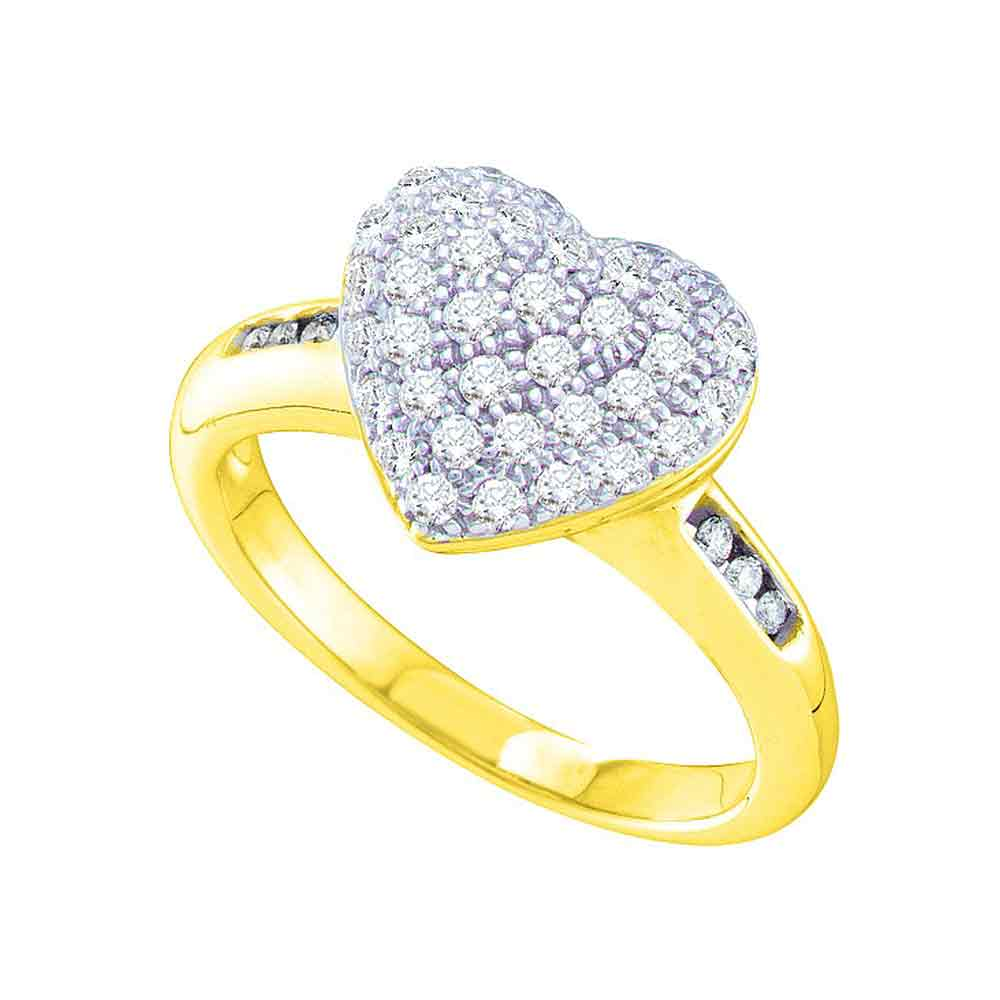 14kt Yellow Gold Womens Round Diamond Heart Cluster Ring 1/2 Cttw