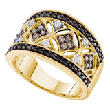 14kt Yellow Gold Womens Round Black Cognac-brown Color Enhanced Diamond Band Ring 1/2 Cttw