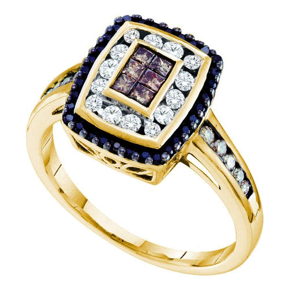 14kt Yellow Gold Womens Princess Cognac-brown Black Color Enhanced Diamond Cluster Ring 1/2 Cttw