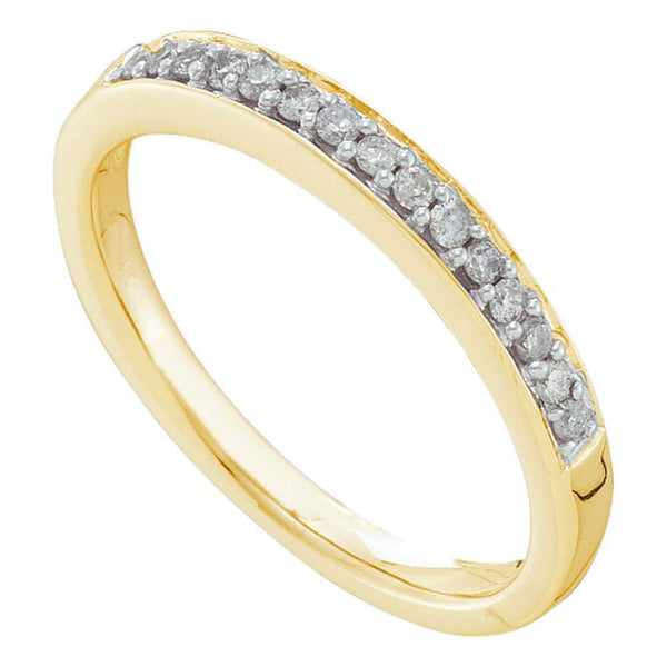 14kt Yellow Gold Womens Round Diamond Slender Band 1/6 Cttw