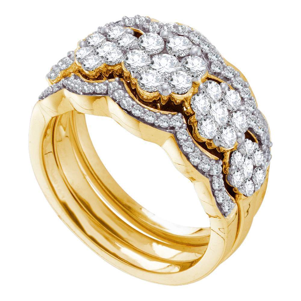 14kt Yellow Gold Womens Round Diamond 3-piece Bridal Wedding Engagement Ring Band Set 1-1/2 Cttw