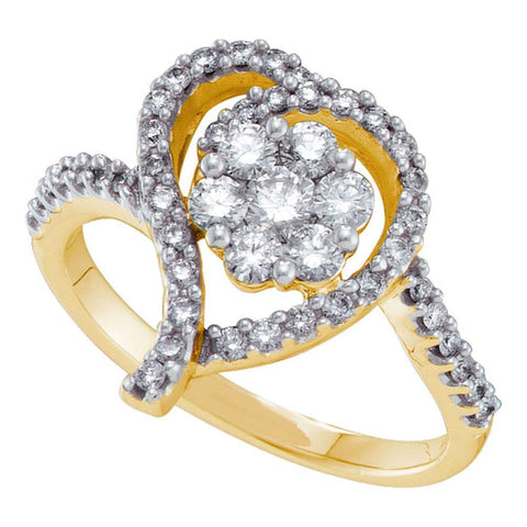 14kt Yellow Gold Womens Round Diamond Flower Cluster Heart Ring 3/4 Cttw