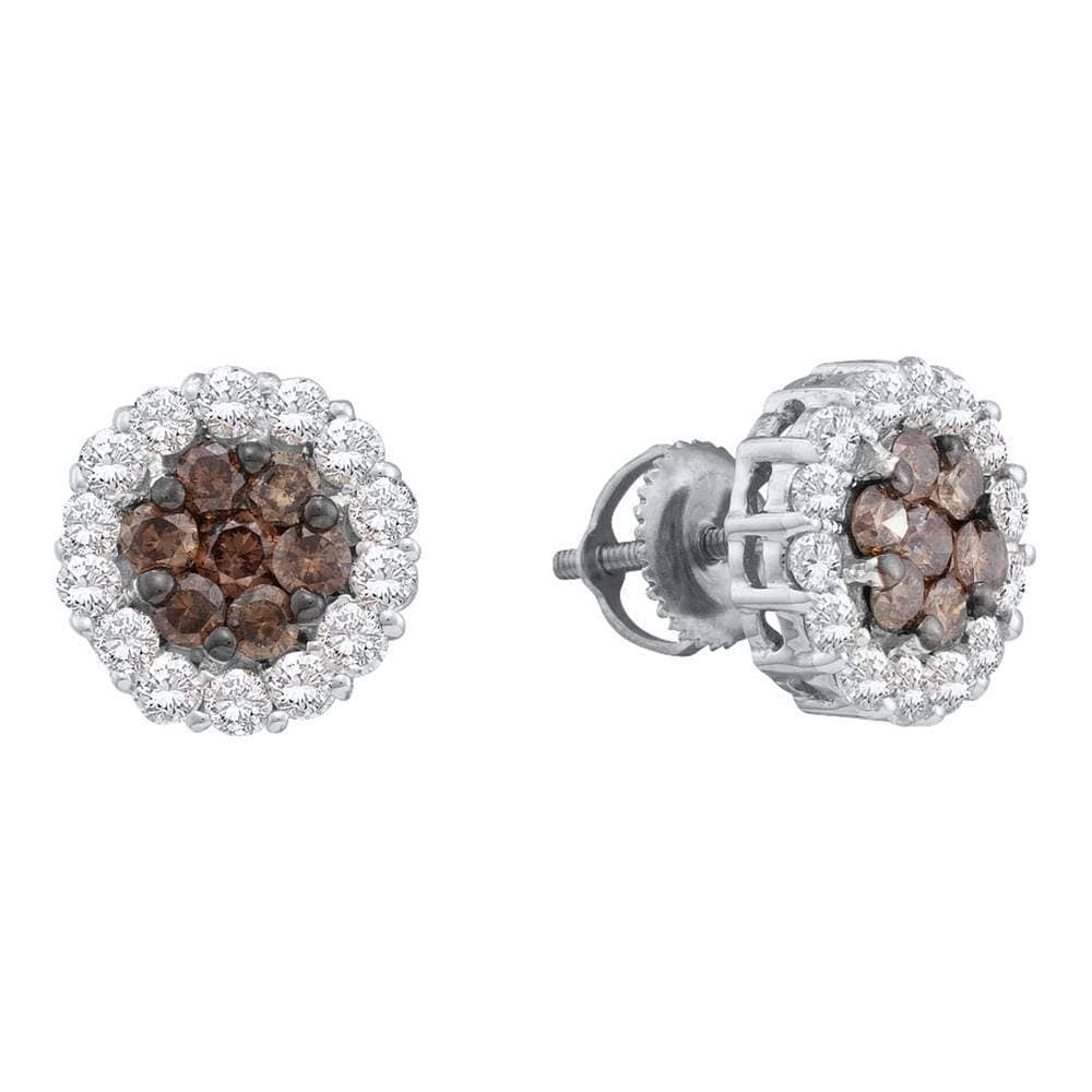 14kt White Gold Womens Round Color Enhanced Brown Diamond Flower Cluster Earrings 1-1/2 Cttw