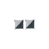 10kt White Gold Mens Round Blue Color Enhanced Diamond Square Kite Cluster Earrings 1/3 Cttw