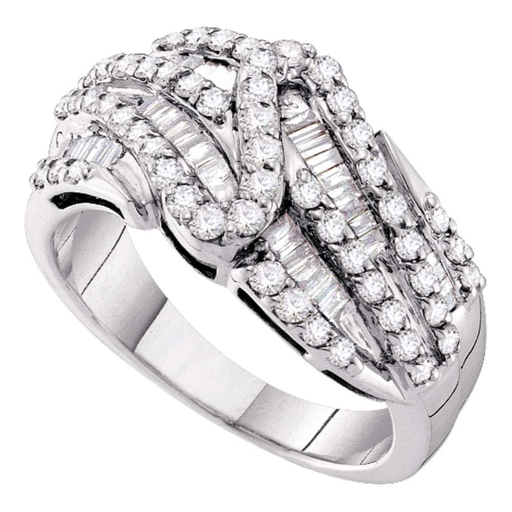 14kt White Gold Womens Round Pave-set Diamond Striped Fashion Band Ring 1 Cttw