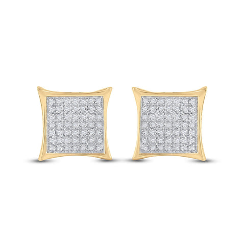 10kt Yellow Gold Womens Round Diamond Square Kite Cluster Earrings 1/3 Cttw