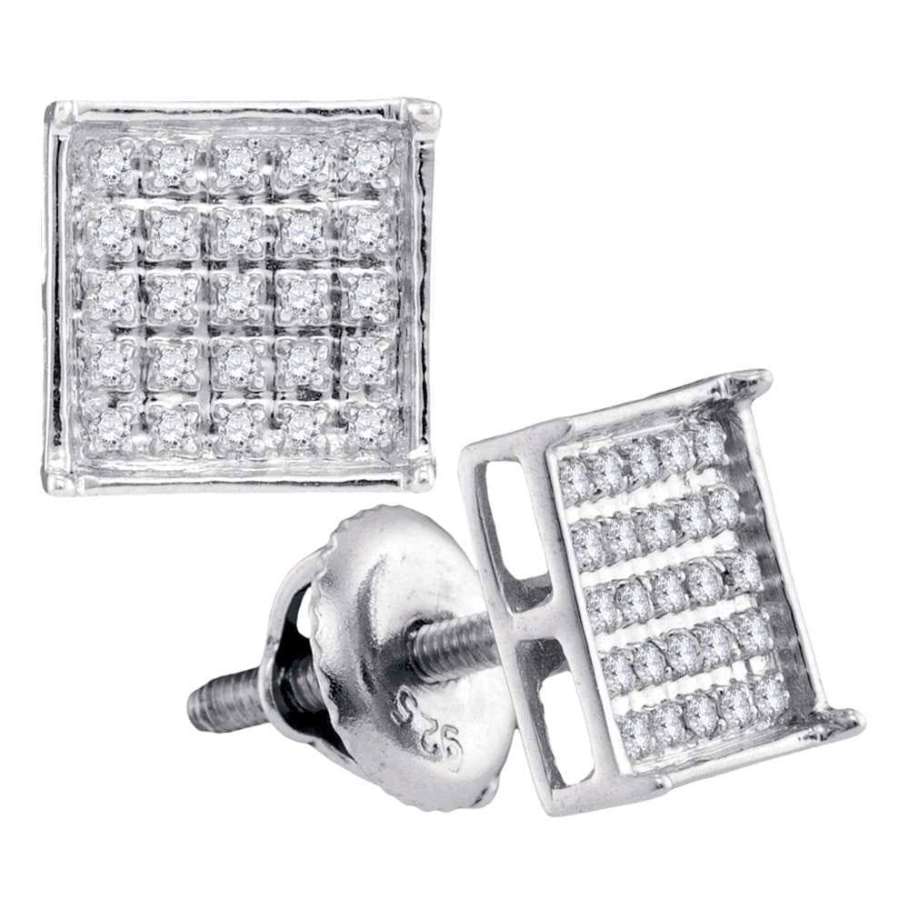 14kt White Gold Unisex Round Diamond Square Cluster Stud Earrings 1/6 Cttw