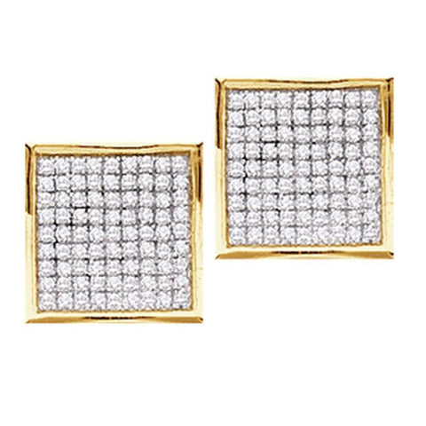 14kt Yellow Gold Womens Round Pave-set Diamond Square Cluster Earrings 3/8 Cttw