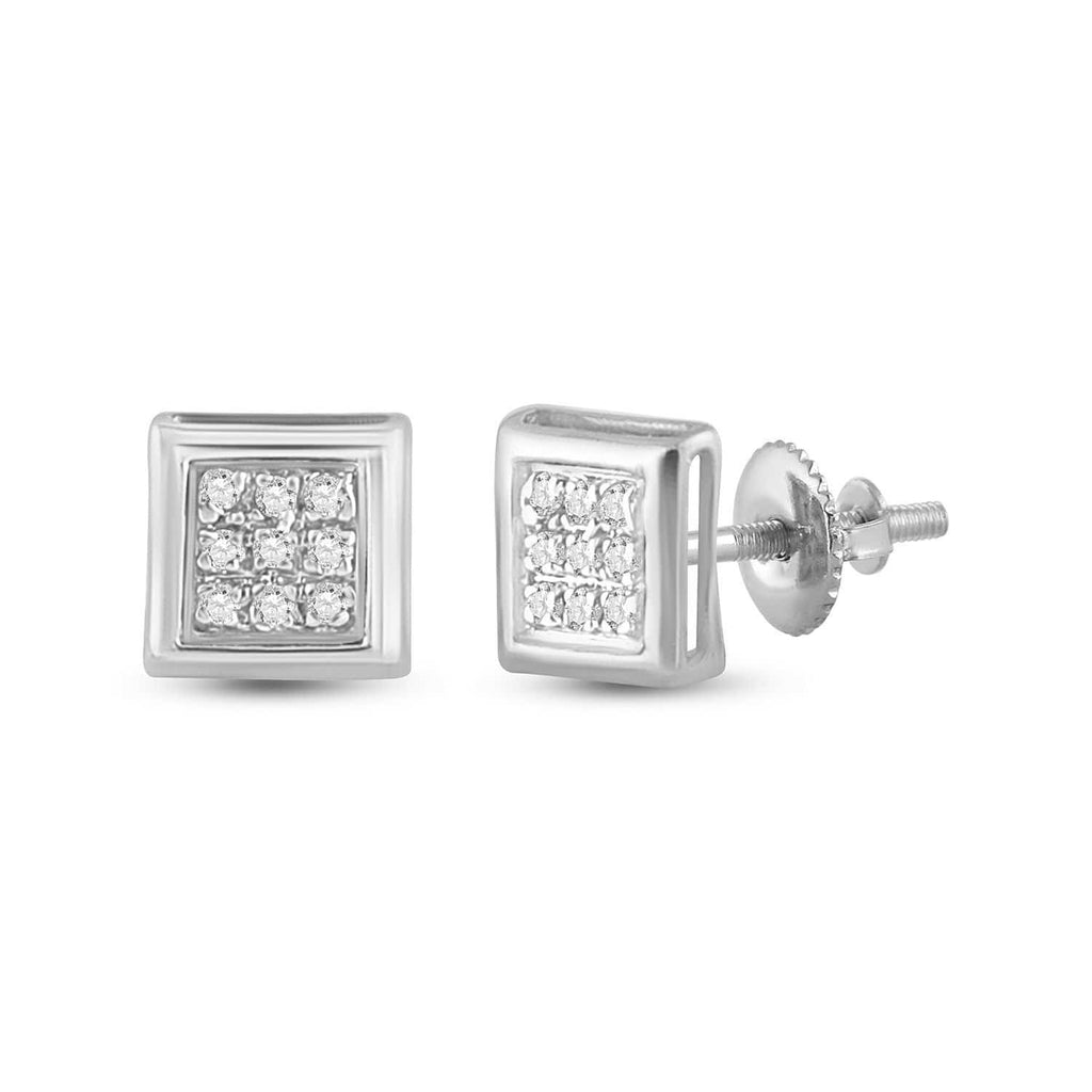 14kt White Gold Womens Round Diamond Square Cluster Stud Earrings 1/20 Cttw