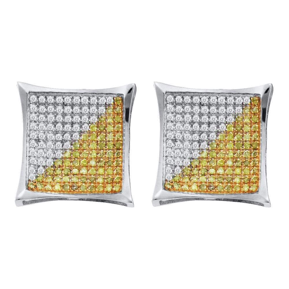10kt White Gold Mens Round Yellow Color Enhanced Diamond Square Kite Cluster Earrings 1/6 Cttw