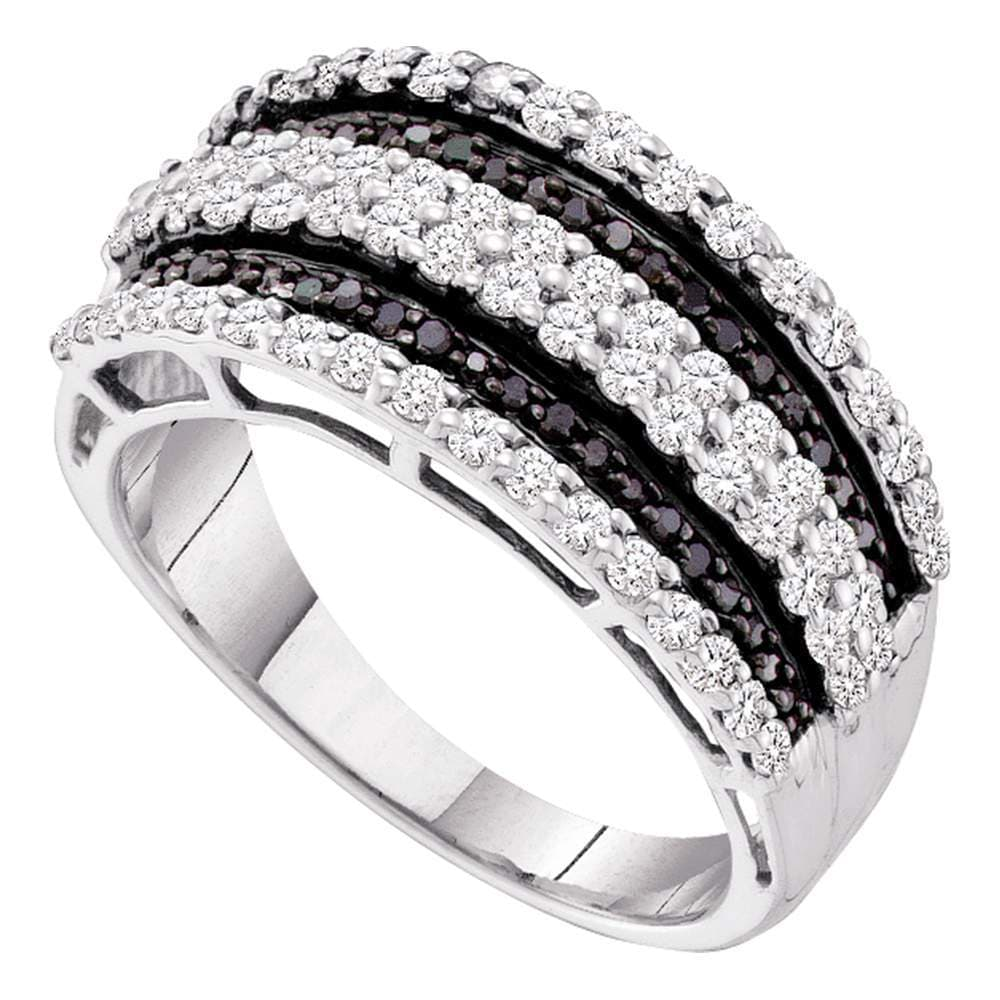 10kt White Gold Womens Round Black Color Enhanced Diamond Stripe Fashion Ring 3/4 Cttw