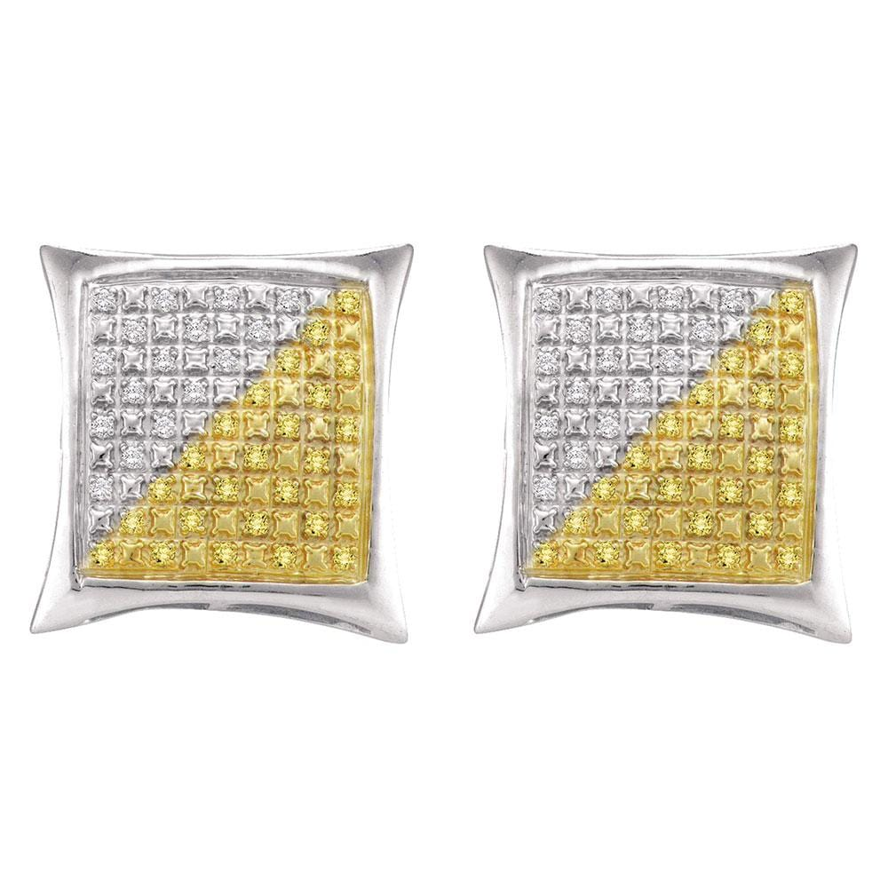 Sterling Silver Mens Round Yellow Color Enhanced Diamond Square Kite Earrings 1/4 Cttw
