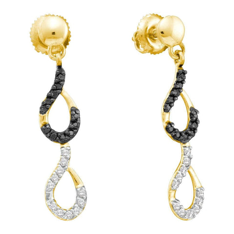 14kt Yellow Gold Womens Round Black Color Enhanced Diamond Dangle Earrings 1/3 Cttw