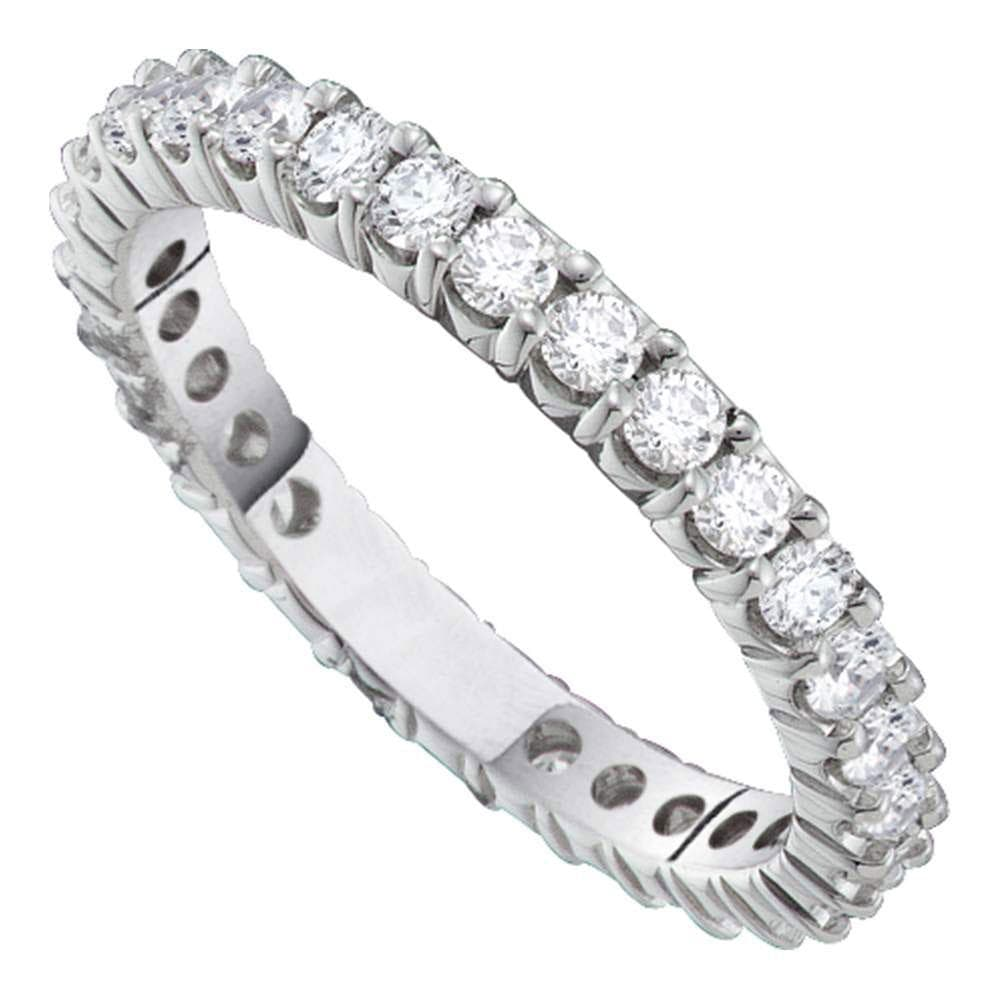 14kt White Gold Womens Round Pave-set Diamond Eternity Wedding Band 2 Cttw