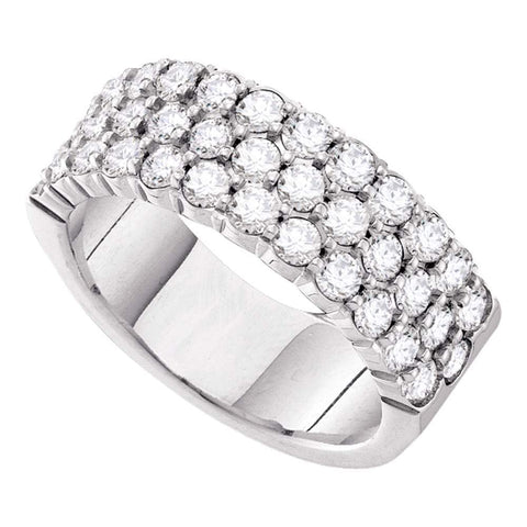 14kt White Gold Womens Round Diamond Wedding Band Ring 1-1/2 Cttw