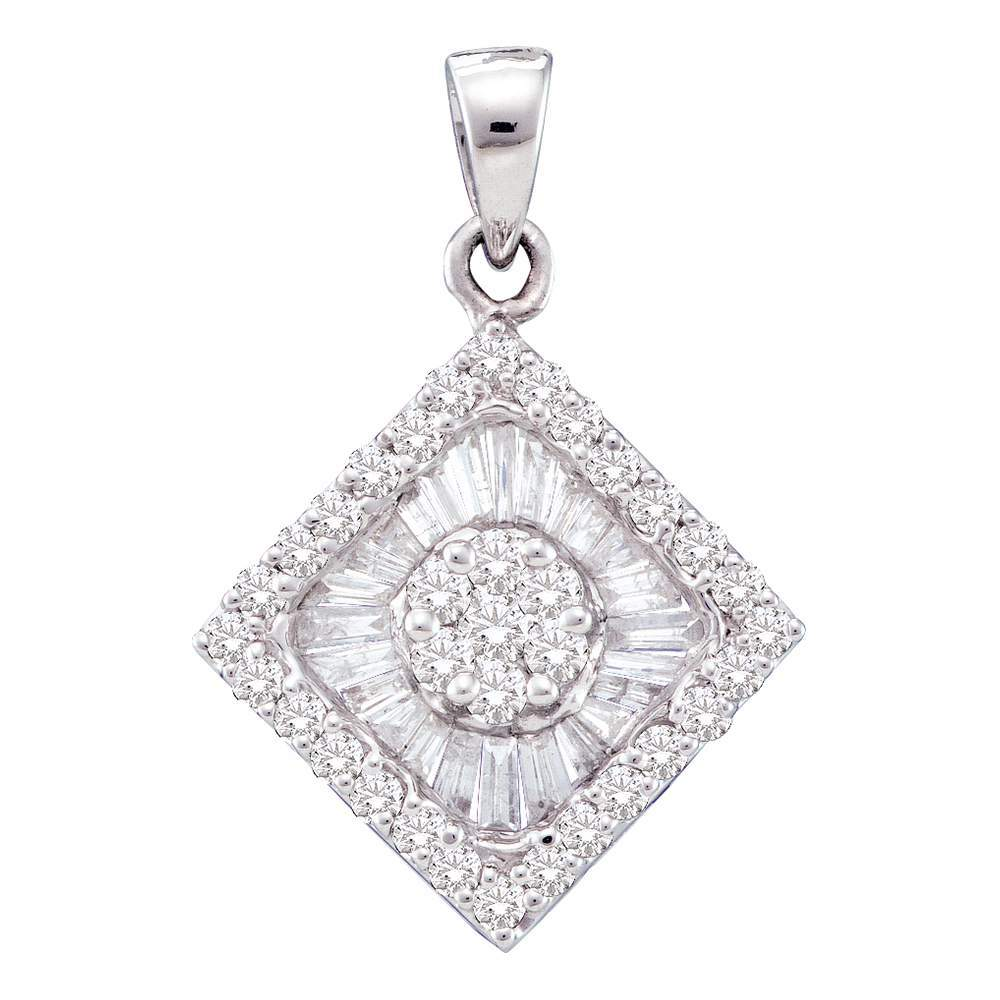 14kt White Gold Womens Round Diamond Diagonal Square Frame Cluster Pendant 7/8 Cttw