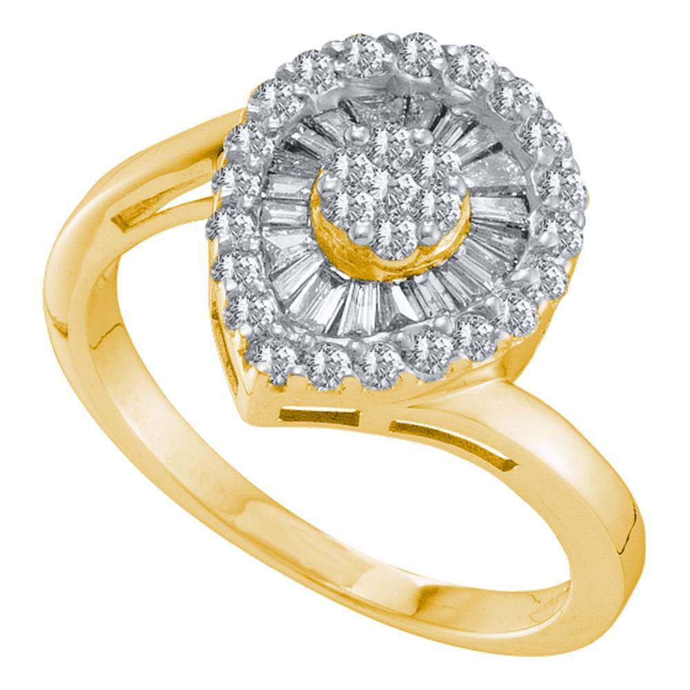 14kt Yellow Gold Womens Round Diamond Teardrop Frame Flower Cluster Ring 3/4 Cttw