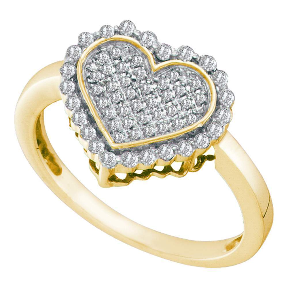 10kt Yellow Gold Womens Round Diamond Heart Cluster Ring 1/4 Cttw