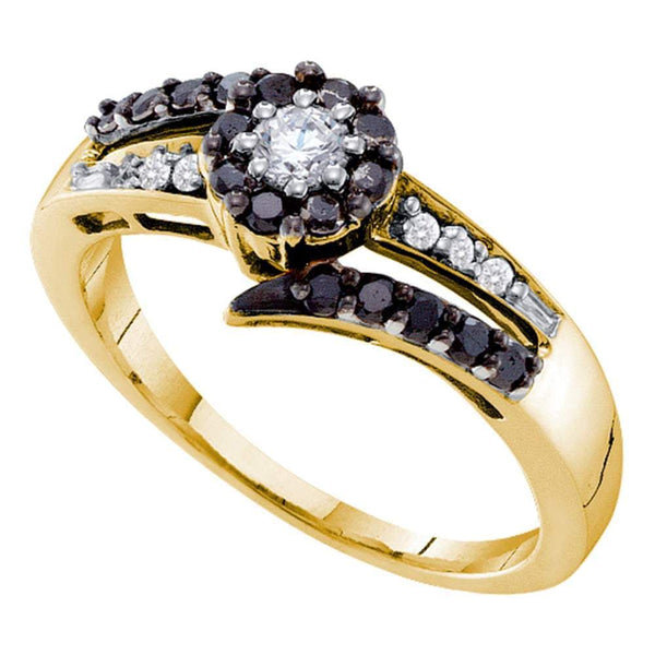 14kt Yellow Gold Womens Round Black Color Enhanced Diamond Solitaire Ring 1/2 Cttw