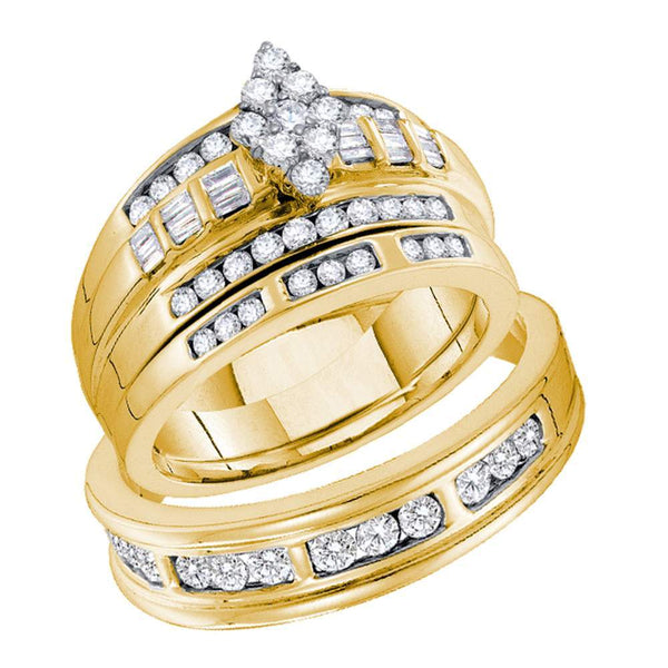 14kt Yellow Gold His & Hers Round Diamond Cluster Matching Bridal Wedding Ring Band Set 1.00 Cttw