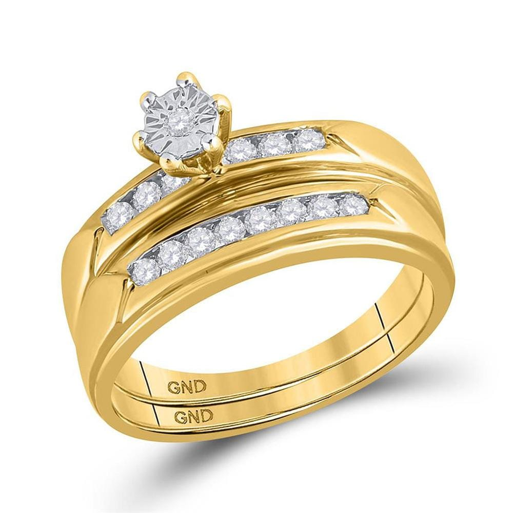 14kt Yellow Gold His Hers Round Diamond Solitaire Matching Wedding Set 1/2 Cttw