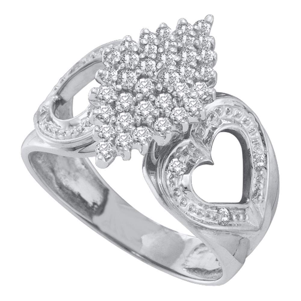 10kt White Gold Womens Round Diamond Cluster Heart Ring 1/2 Cttw