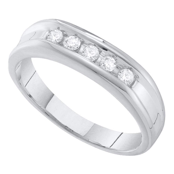 10kt White Gold Mens Round Channel-set Diamond Single Row Wedding Band 1/4 Cttw