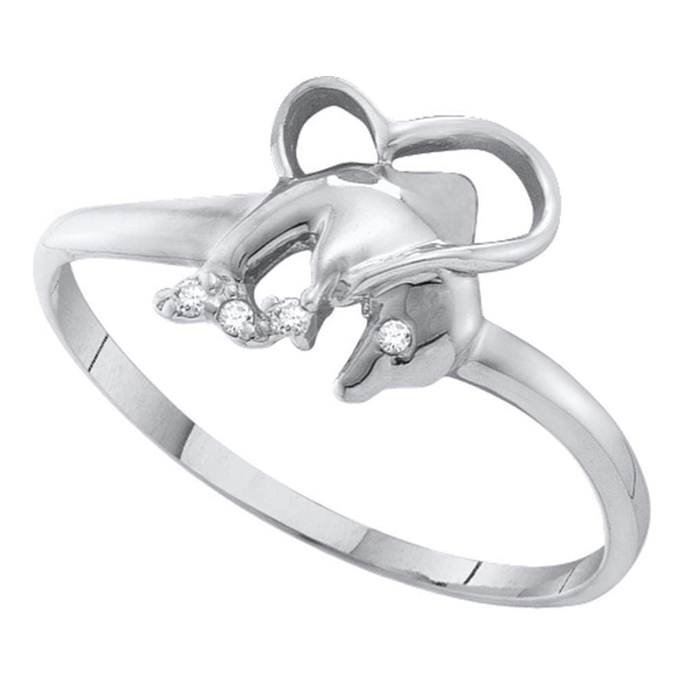 10kt White Gold Womens Round Diamond-accent Dolphin Heart Ring .02 Cttw