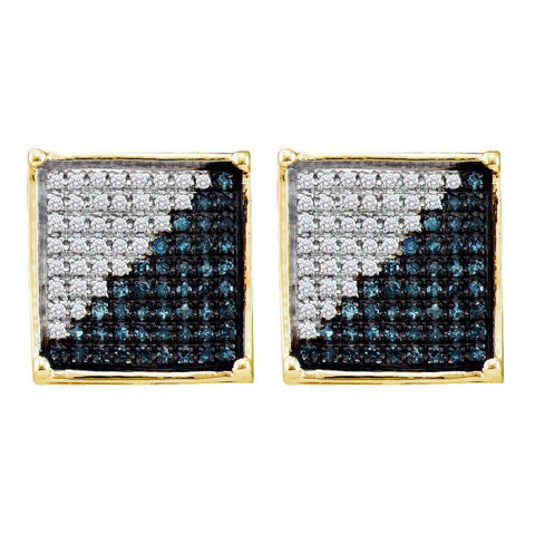 10kt Yellow Gold Mens Round Blue Color Enhanced Diamond Square Cluster Earrings 1/2 Cttw