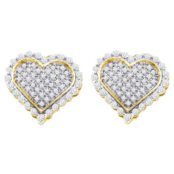 10kt Yellow Gold Mens Round Diamond Heart Cluster Stud Earrings 1/2 Cttw