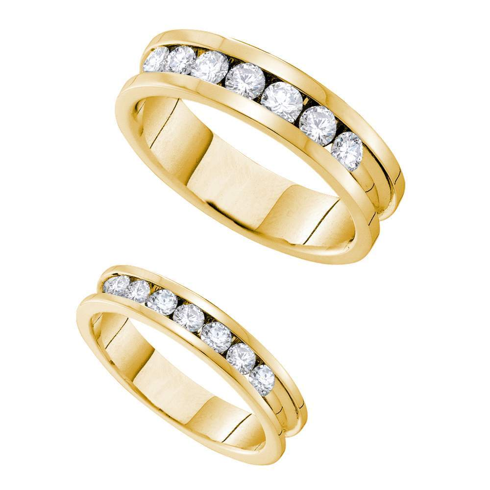 14kt Yellow Gold His & Hers Round Diamond Matching Bridal Wedding Band Set 1-1/2 Cttw