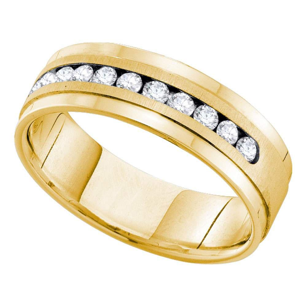 14kt Yellow Gold Mens Round Channel-set Diamond Single Row Wedding Band Ring 1 Cttw
