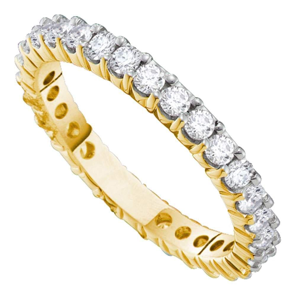 14kt Yellow Gold Womens Round Pave-set Diamond Eternity Wedding Band 3.00 Cttw