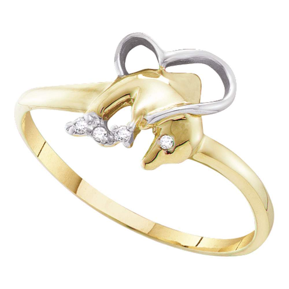 10kt Yellow Gold Womens Round Diamond-accent Dolphin Heart Ring .02 Cttw
