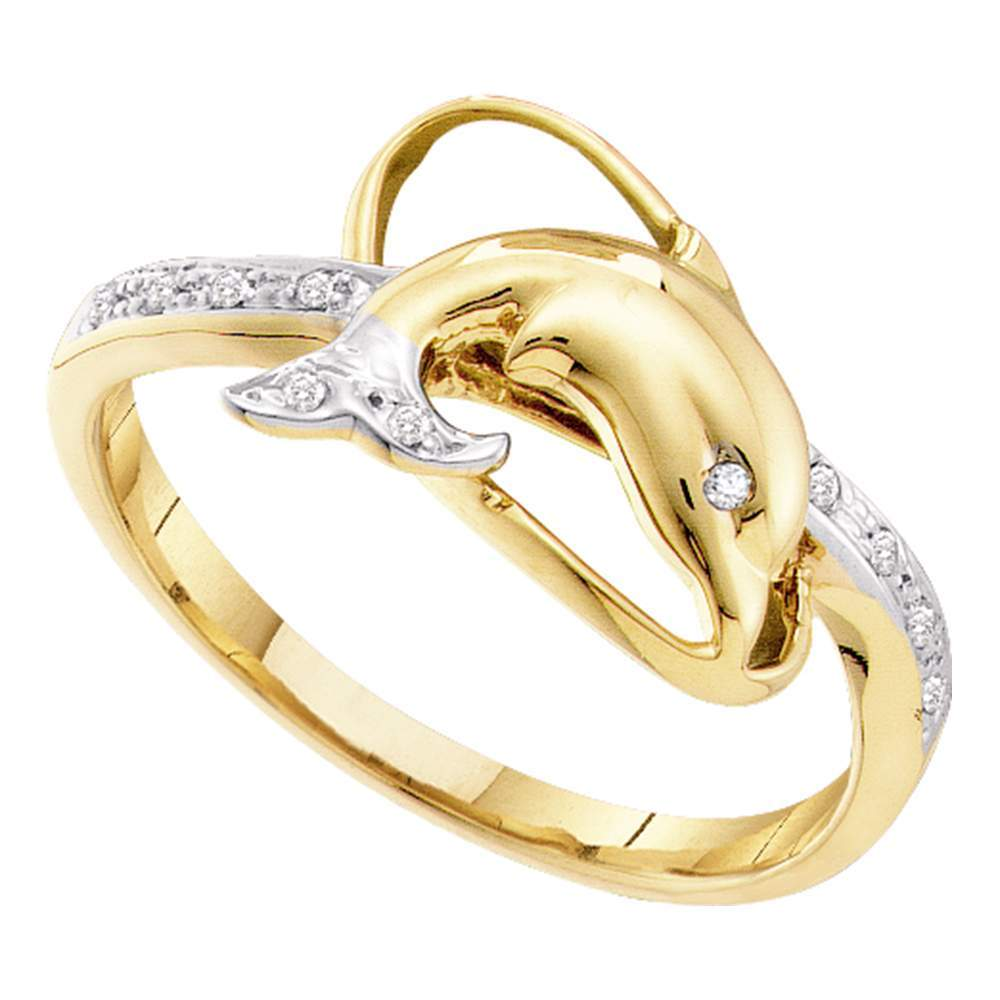 10kt Yellow Gold Womens Round Diamond Dolphin Fish Animal Ring 1/20 Cttw