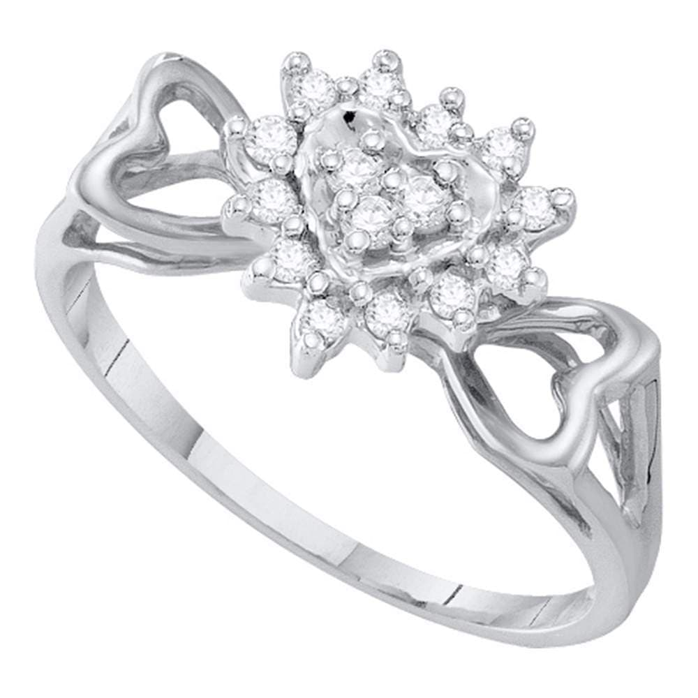 10kt White Gold Womens Round Diamond Heart Love Ring 1/5 Cttw