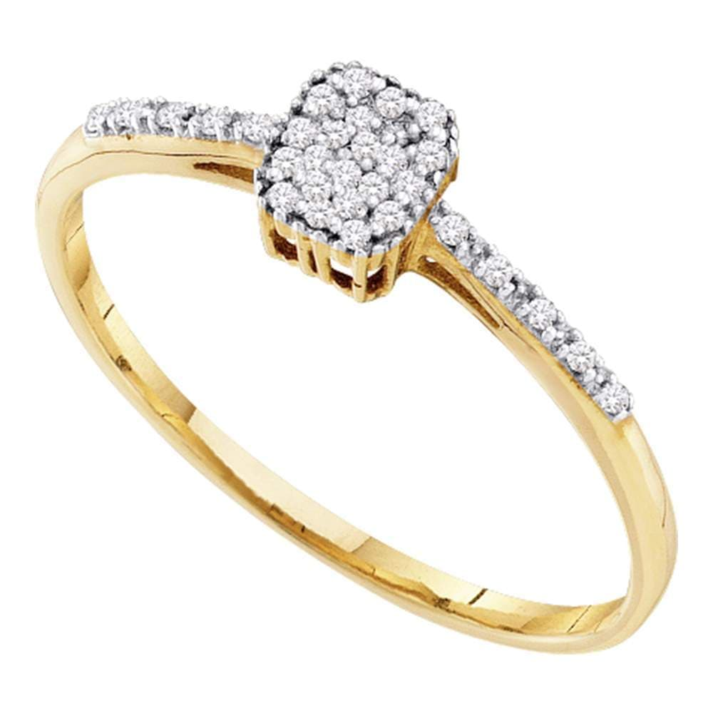 10kt Yellow Gold Womens Round Diamond Small Slender Cluster Ring 1/12 Cttw
