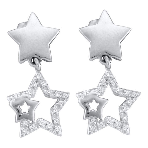10kt White Gold Womens Round Diamond Star Dangle Earrings 1/10 Cttw