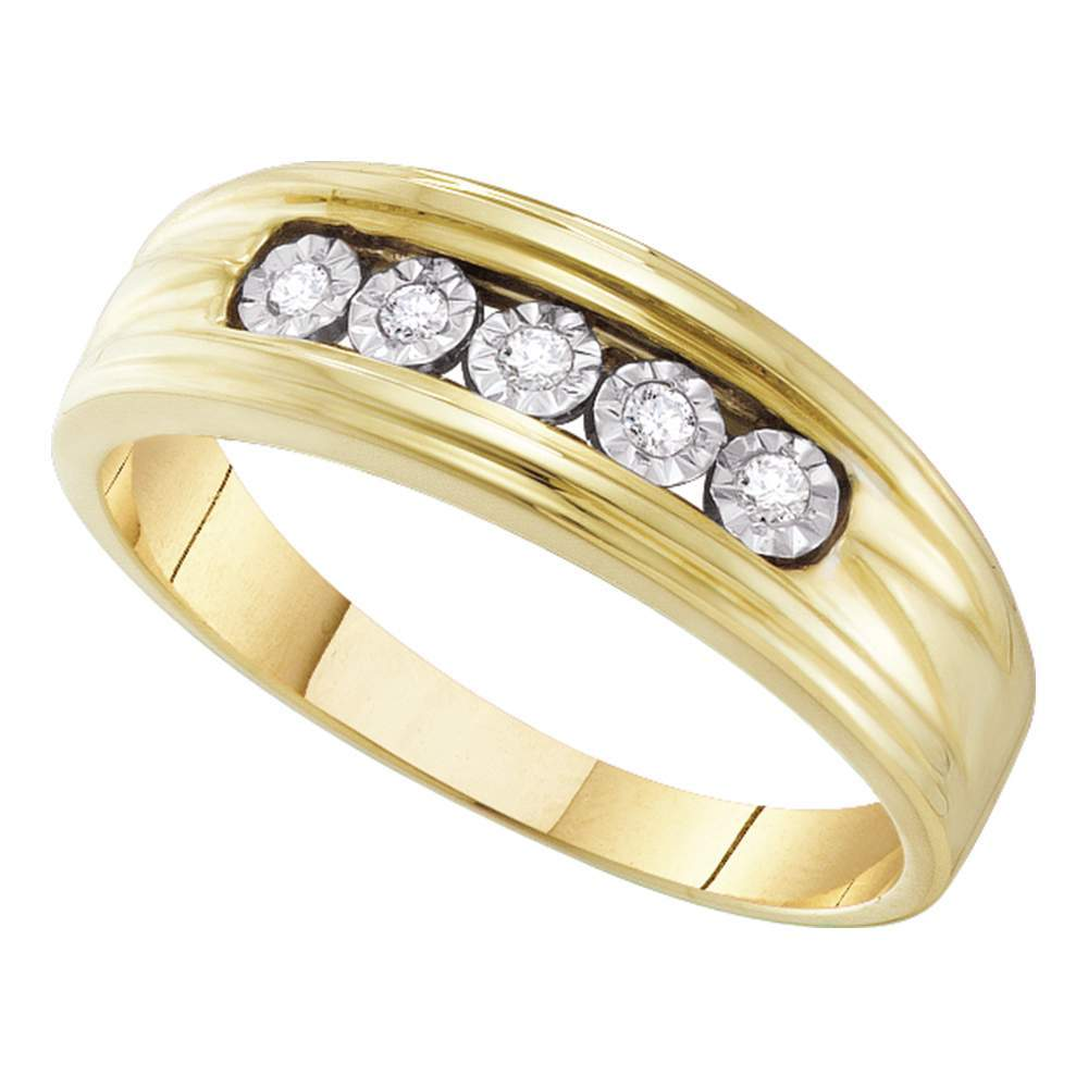 10kt Yellow Gold Mens Round Illusion-set Diamond Wedding Band Ring 1/10 Cttw