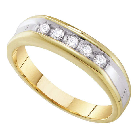 10kt Yellow Two-tone Gold Mens Round Channel-set Diamond Single Row Wedding Band 1/4 Cttw