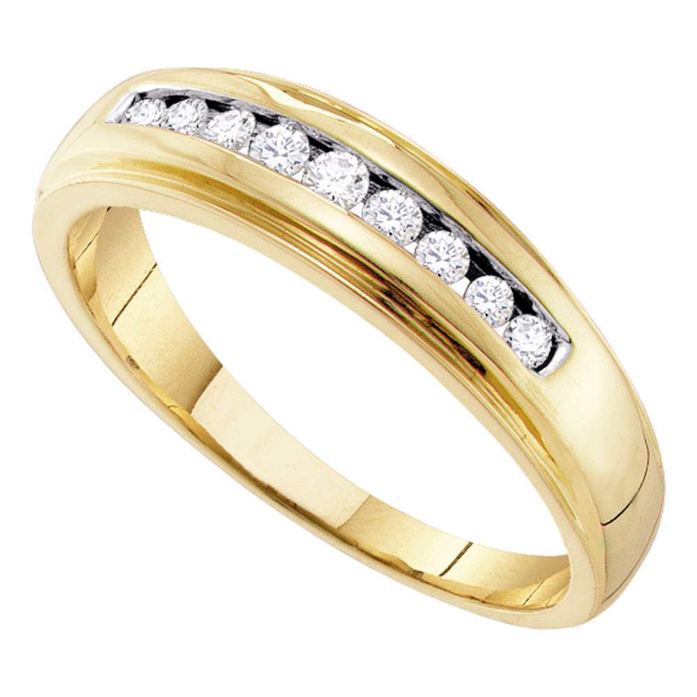 10kt Yellow Gold Mens Round Channel-set Diamond 5mm Wedding Band Ring 1/4 Cttw
