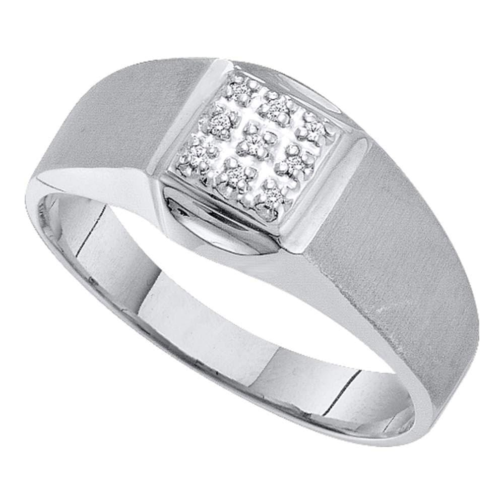 10kt White Gold Mens Round Diamond Brushed Cluster Ring .03 Cttw