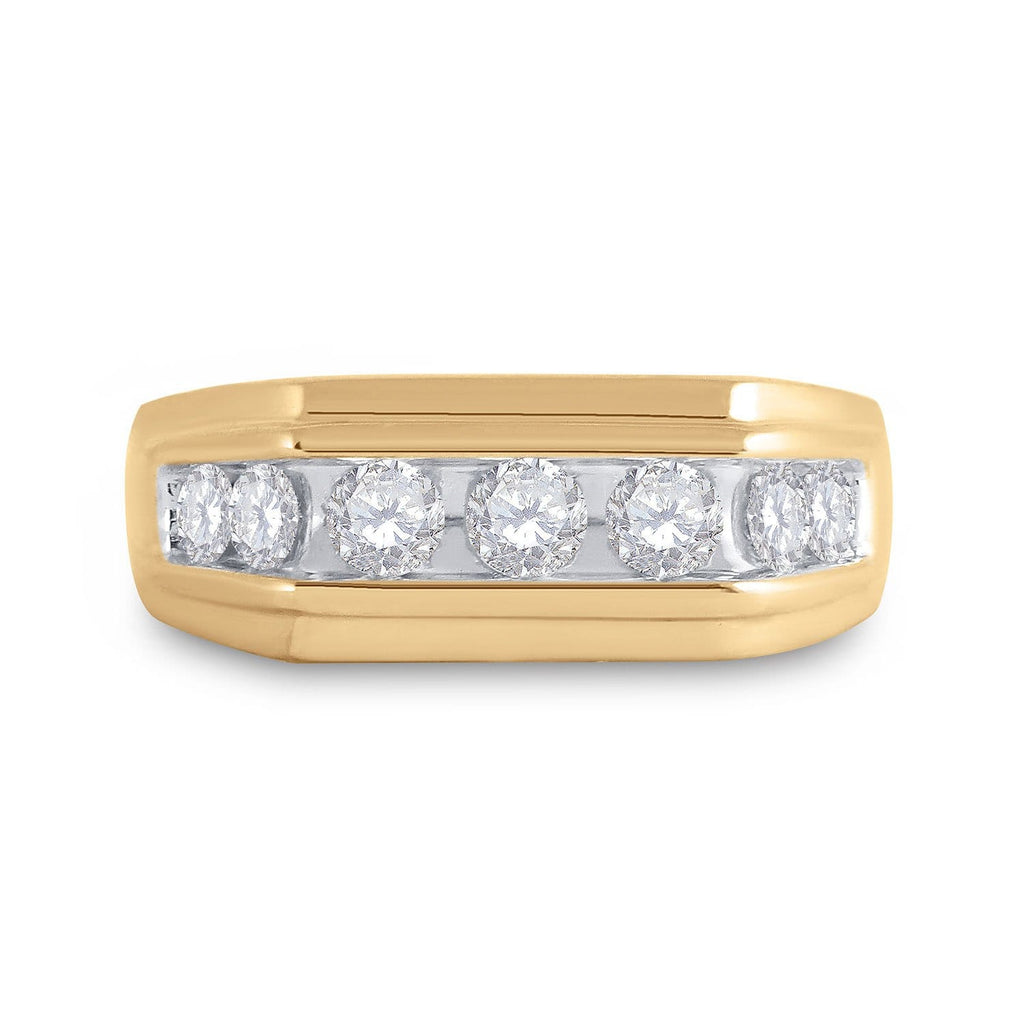 10kt Yellow Gold Mens Round Diamond Flat Top Band Ring 1 Cttw