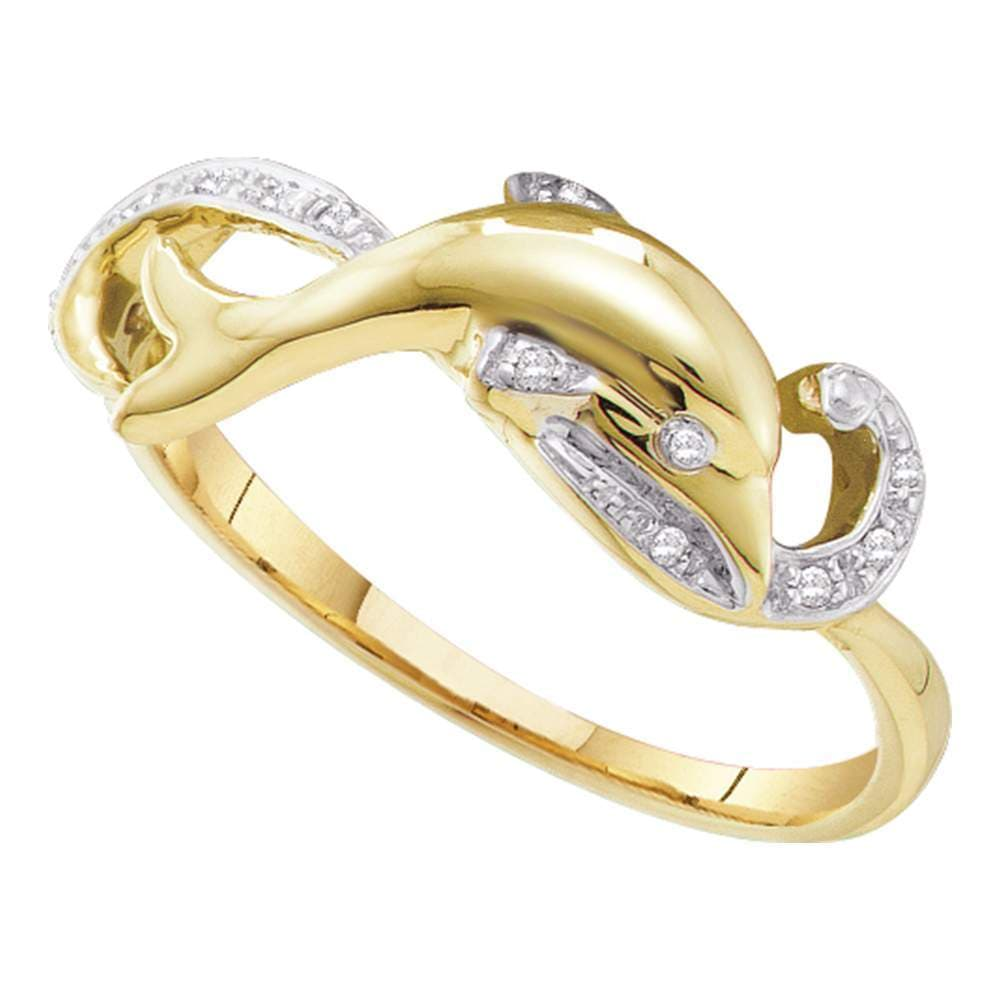 10kt Yellow Gold Womens Round Diamond Slender Dolphin Fish Animal Ring 1/20 Cttw