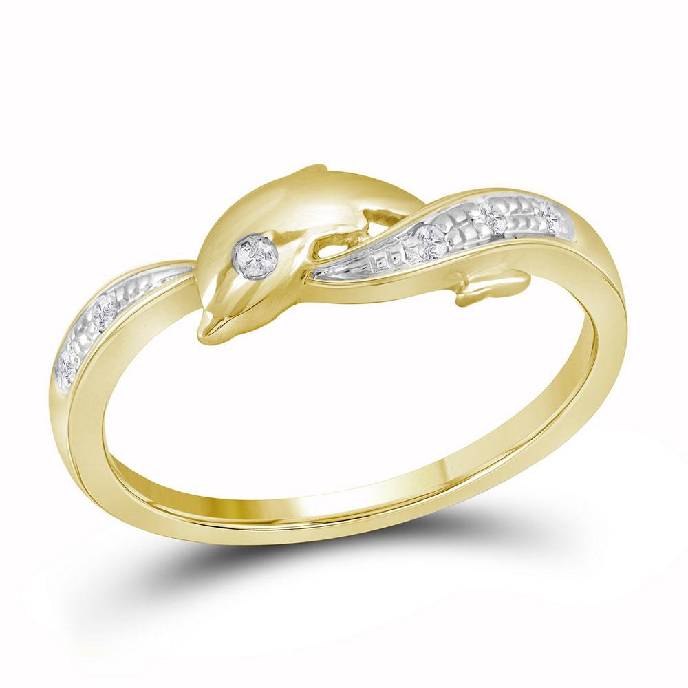 10kt Yellow Gold Womens Round Diamond Two-tone Dolphin Fish Animal Ring 1/20 Cttw