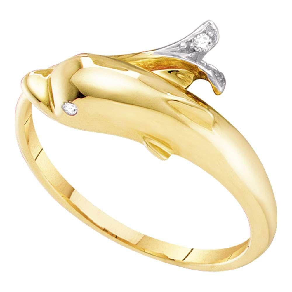 10kt Yellow Gold Womens Round Diamond Dolphin Fish Animal Wrap Ring .03 Cttw