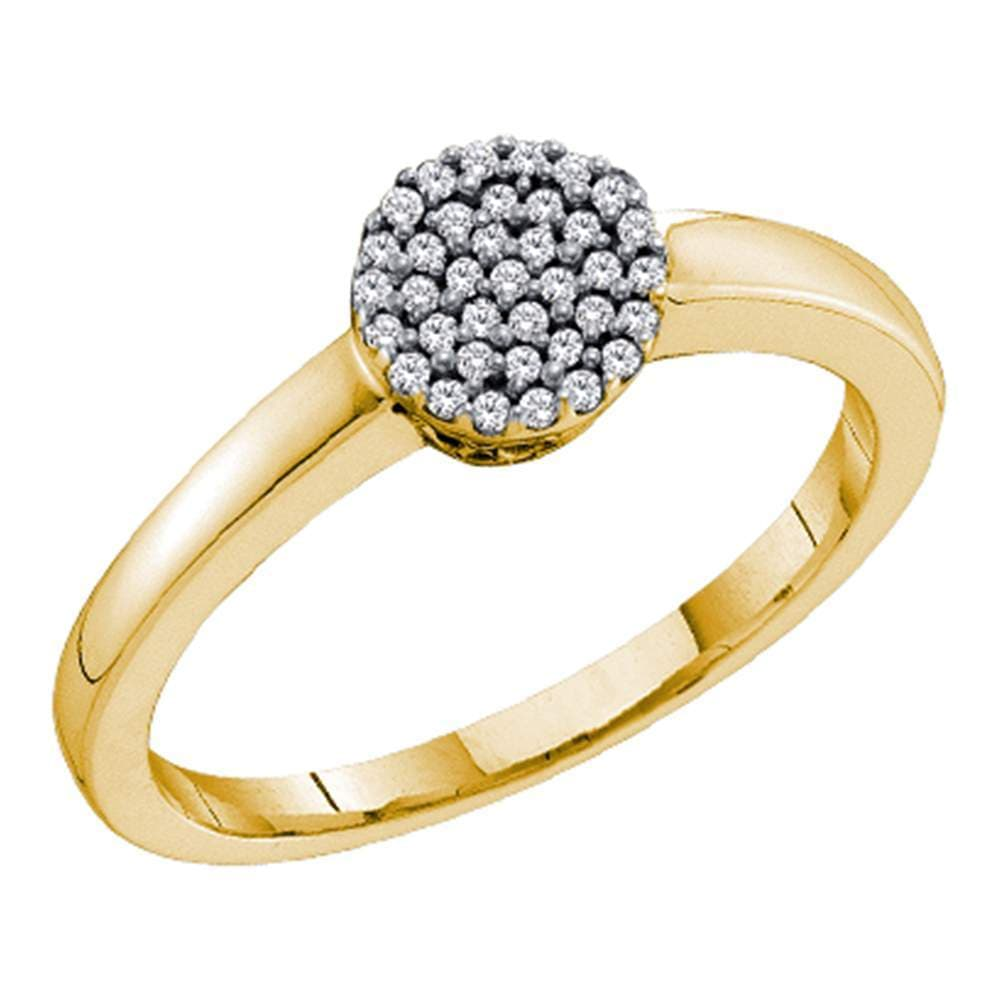 10kt Yellow Gold Womens Round Diamond Simple Cluster Ring 1/8 Cttw
