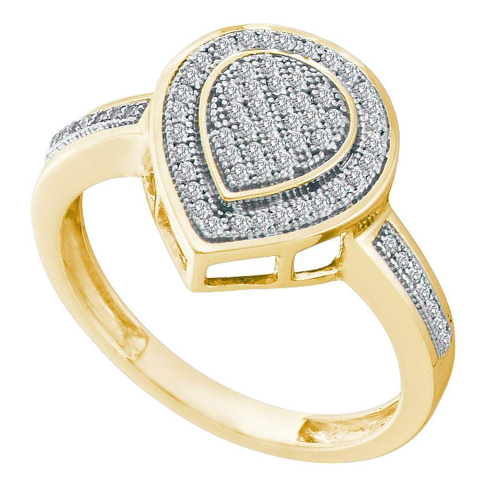 10kt Yellow Gold Womens Round Diamond Heart Frame Cluster Ring 1/5 Cttw
