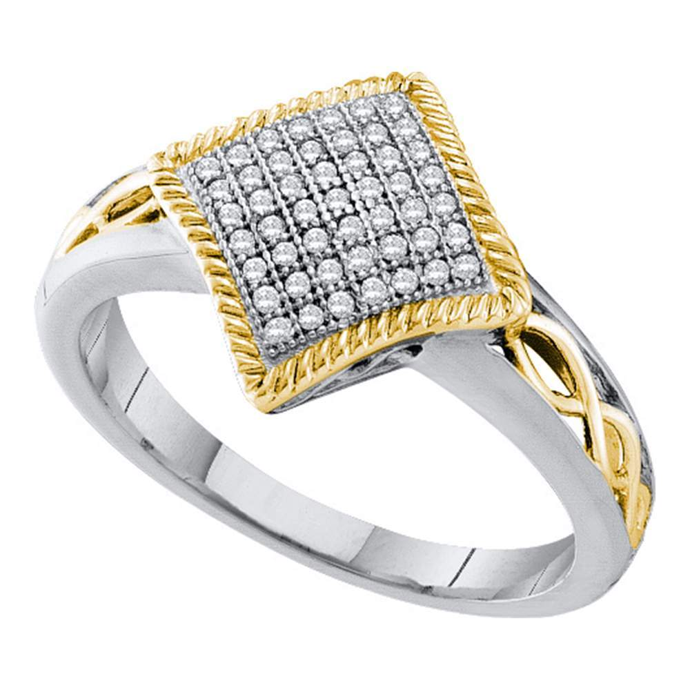 10kt White Gold Womens Round Diamond Diagonal Square Milgrain Frame Cluster Ring 1/6 Cttw