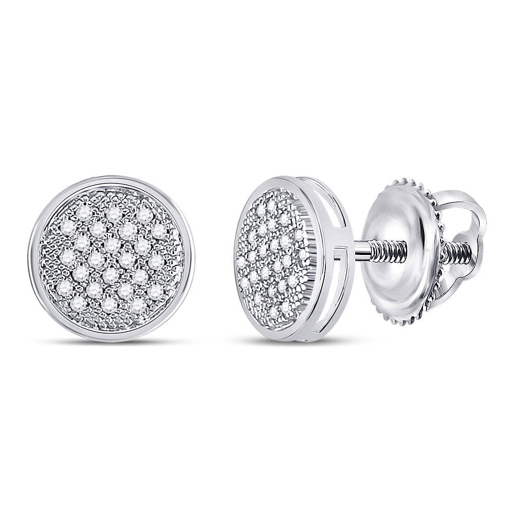 Sterling Silver Womens Round Diamond Cluster Screwback Earrings 1/6 Cttw